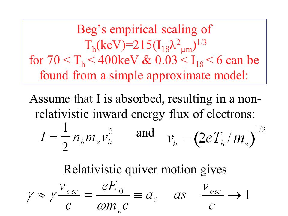 Beg's empirical scaling of T h (keV)=215(I 18 2  m ) 1/3 for 70 < T h < 400keV & 0.03 < I 18 < 6 can be found from a simple approximate model: Assume