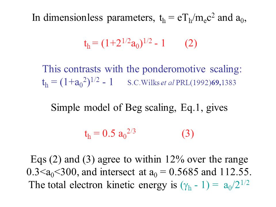 In dimensionless parameters, t h = eT h /m e c 2 and a 0, t h = (1+2 1/2 a 0 ) 1/2 - 1 (2) This contrasts with the ponderomotive scaling: t h = (1+a 0