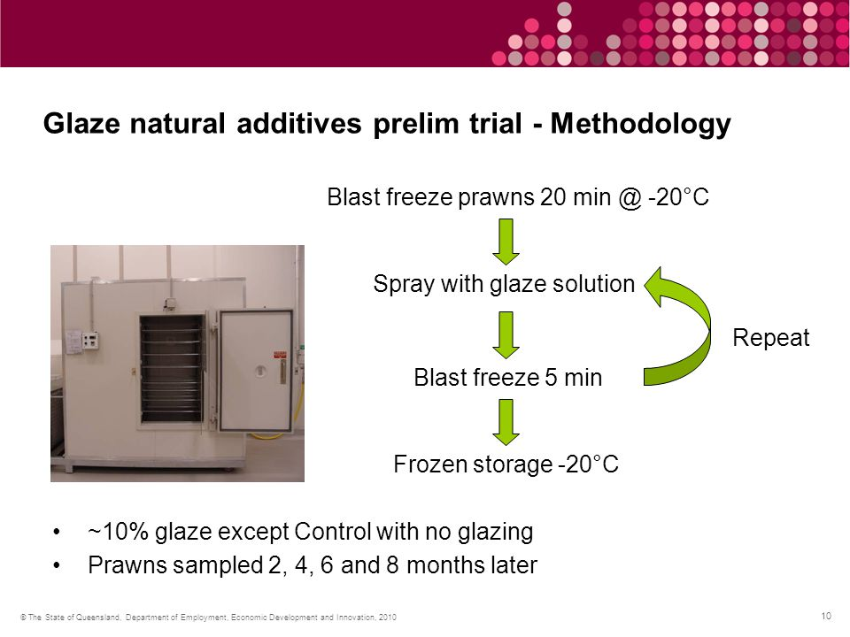 10 © The State of Queensland, Department of Employment, Economic Development and Innovation, 2010 Glaze natural additives prelim trial - Methodology Blast freeze prawns 20 min @ -20°C Spray with glaze solution Blast freeze 5 min Repeat Frozen storage -20°C ~10% glaze except Control with no glazing Prawns sampled 2, 4, 6 and 8 months later