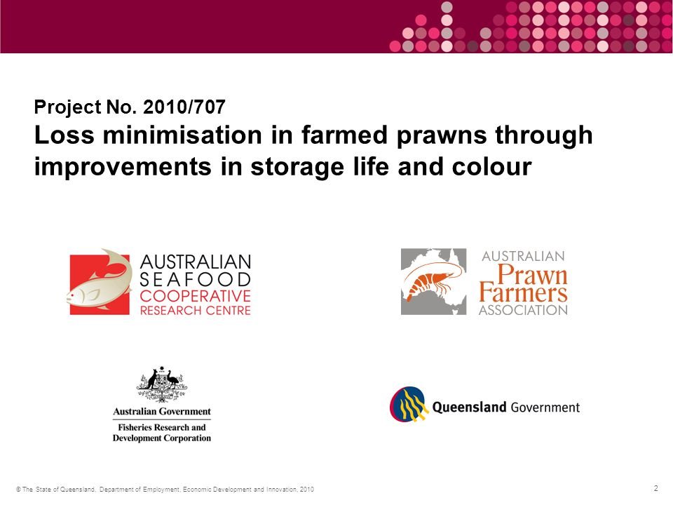 3 © The State of Queensland, Department of Employment, Economic Development and Innovation, 2010 Project Overview Project officially started as of September 1.Shelf life extension of cooked chilled prawns Improve the keeping quality to 14 days Achieved through natural antimicrobials and novel packaging 2.Colour retention during frozen storage of cooked prawns Extend frozen storage quality up to 12 months??.