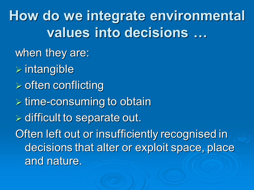 Typology of environmental values