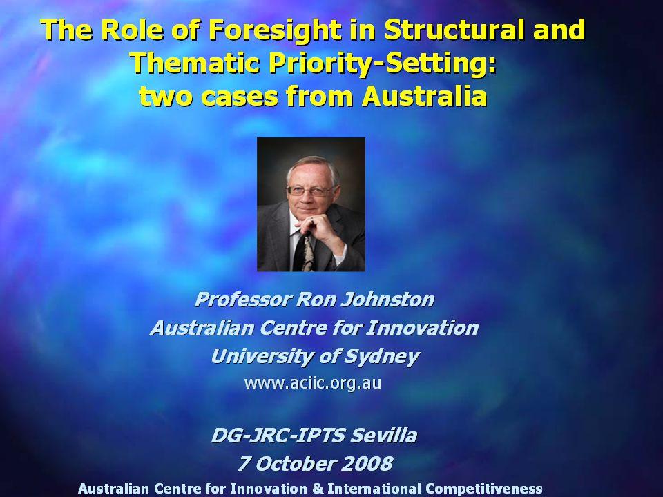 Thematic priority-setting via the CSIRO Flagship Program http://www.csiro.au/partnerships/NRF.html