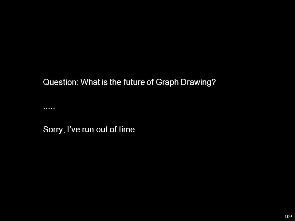 109 Question: What is the future of Graph Drawing ..... Sorry, I've run out of time.