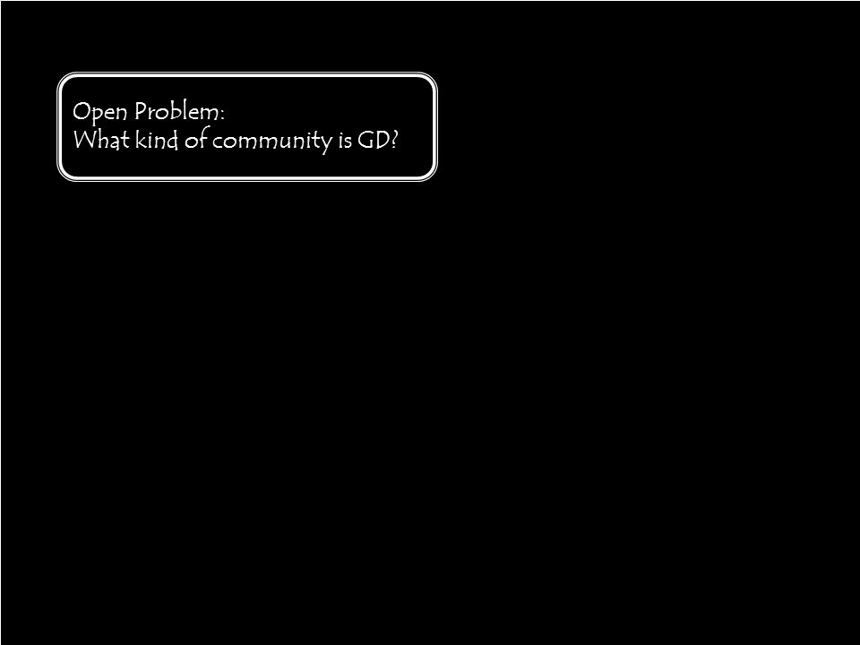 30 Open Problem: What kind of community is GD