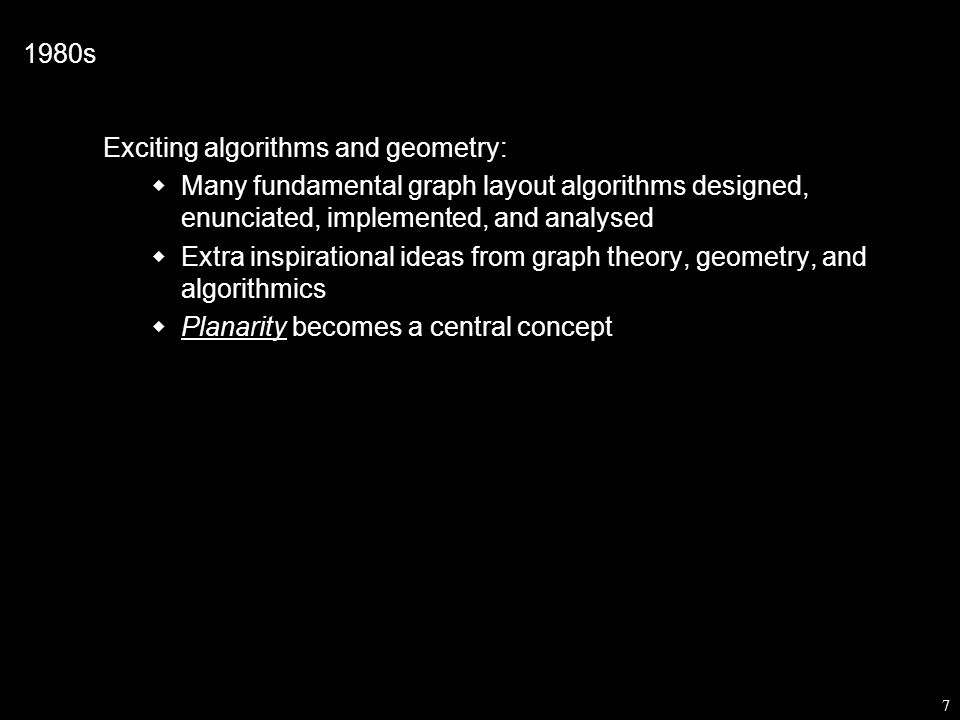 48 Graph Drawing has proposed three approaches to the scale problem: 1.Use 3D: spread the data over a third dimension 2.Use interaction: spread the data over time 3.Use clustering: view an abstraction of the data