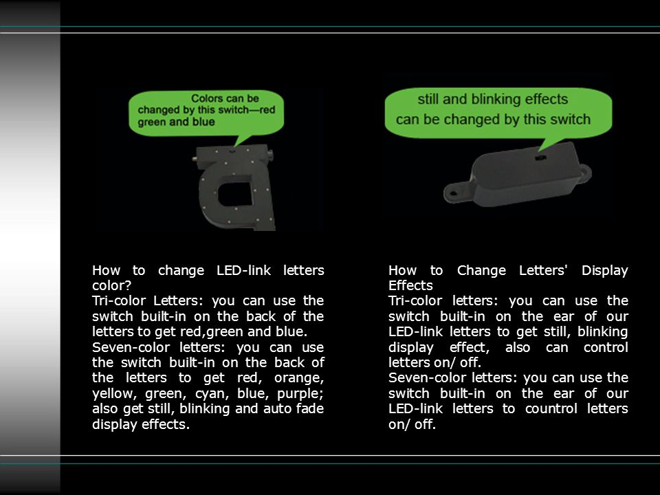 How to change LED-link letters color.