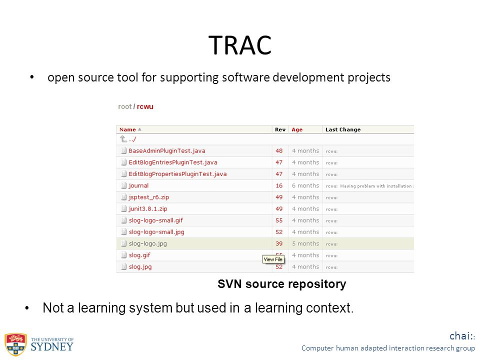 chai: : Computer human adapted interaction research group TRAC open source tool for supporting software development projects Wiki page editor Ticket Manager SVN source repository Not a learning system but used in a learning context.