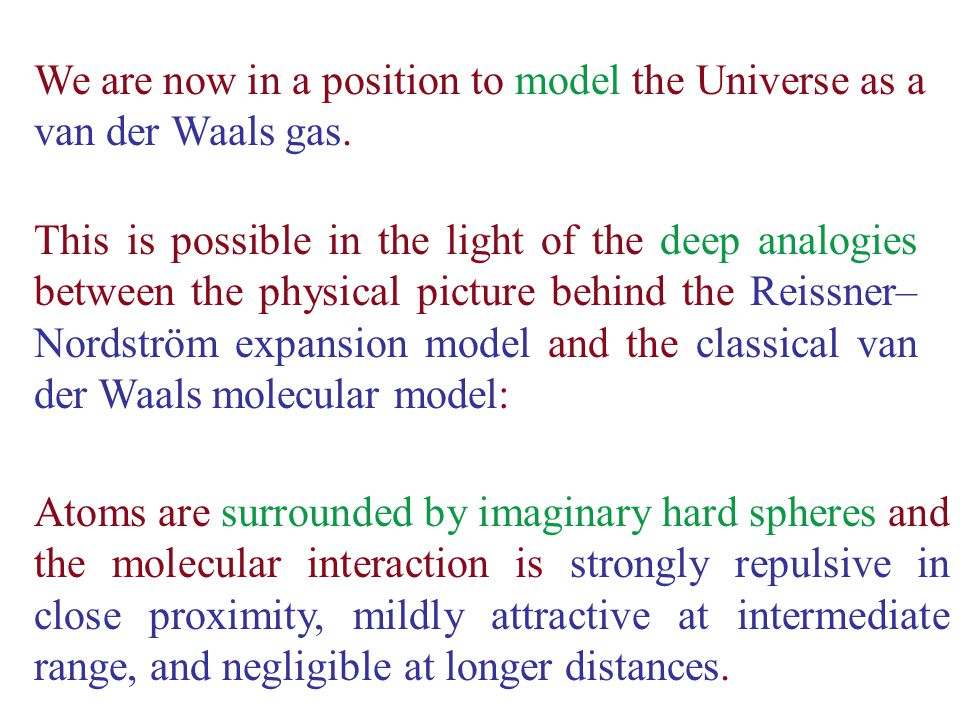 Atoms are surrounded by imaginary hard spheres and the molecular interaction is strongly repulsive in close proximity, mildly attractive at intermediate range, and negligible at longer distances.