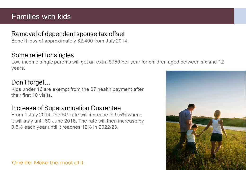Removal of dependent spouse tax offset Benefit loss of approximately $2,400 from July 2014.