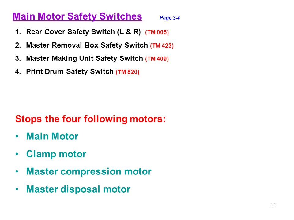 11 Main Motor Safety Switches Page 3-4 1.Rear Cover Safety Switch (L & R) (TM 005) 2.Master Removal Box Safety Switch (TM 423) 3.Master Making Unit Sa