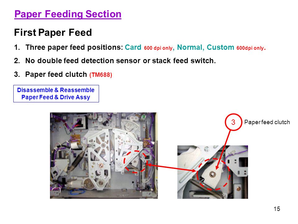 15 Paper Feeding Section First Paper Feed 1.Three paper feed positions: Card 600 dpi only, Normal, Custom 600dpi only.