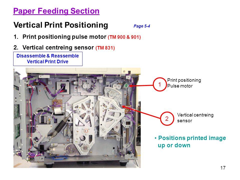 17 Paper Feeding Section Vertical Print Positioning Page 5-4 1.Print positioning pulse motor (TM 900 & 901) 2.Vertical centreing sensor (TM 831) 2 1 P