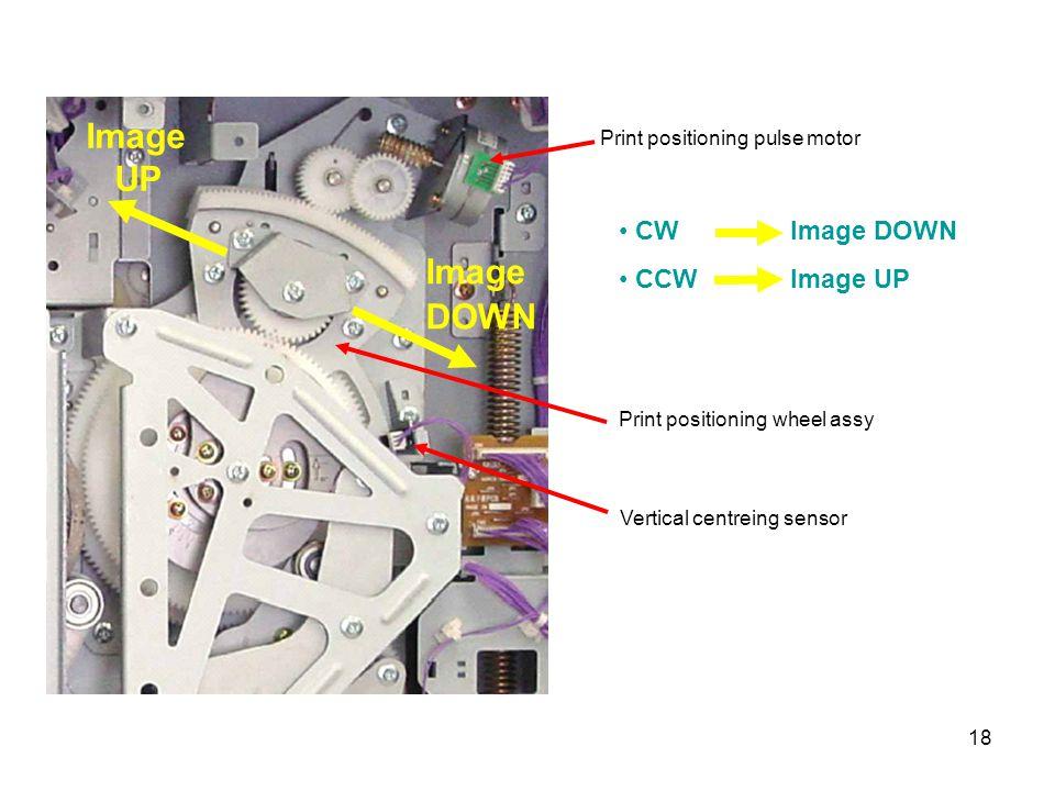 18 Image UP Image DOWN Print positioning pulse motor CW Image DOWN CCW Image UP Print positioning wheel assy Vertical centreing sensor