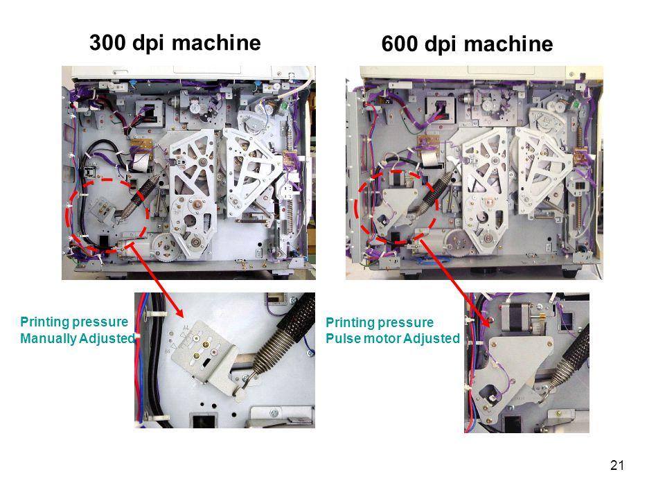 21 300 dpi machine 600 dpi machine Printing pressure Manually Adjusted Printing pressure Pulse motor Adjusted