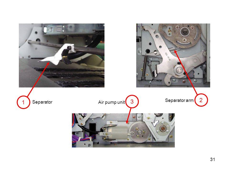 31 1 3 2 Separator Air pump unit Separator arm