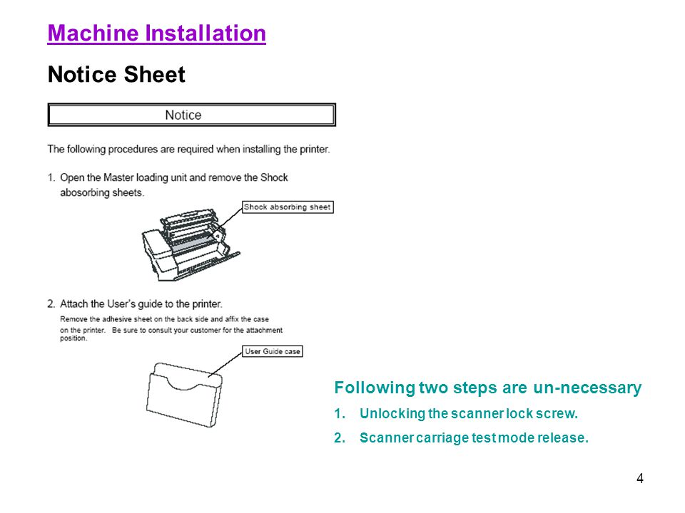 4 Machine Installation Notice Sheet Following two steps are un-necessary 1.Unlocking the scanner lock screw. 2.Scanner carriage test mode release.