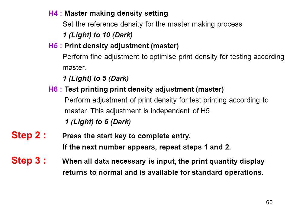 60 H4 : Master making density setting Set the reference density for the master making process 1 (Light) to 10 (Dark) H5 : Print density adjustment (ma