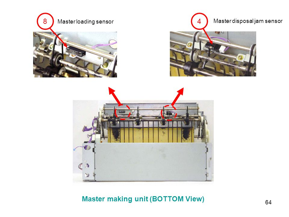 64 4 8 Master loading sensor Master disposal jam sensor Master making unit (BOTTOM View)