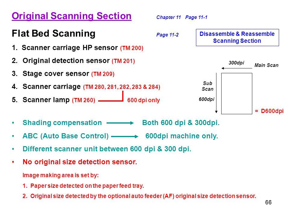 66 Original Scanning Section Chapter 11Page 11-1 Flat Bed Scanning Page 11-2 1. Scanner carriage HP sensor (TM 200) 2.Original detection sensor (TM 20