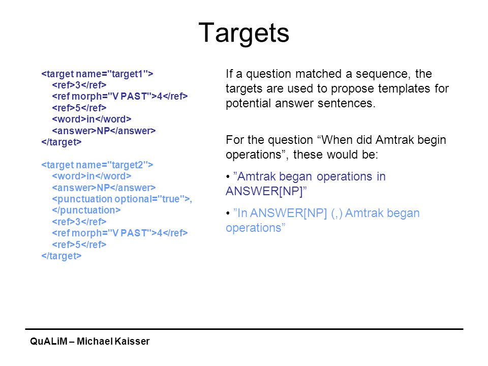 QuALiM – Michael Kaisser Targets 3 4 5 in NP in NP, 3 4 5 If a question matched a sequence, the targets are used to propose templates for potential answer sentences.