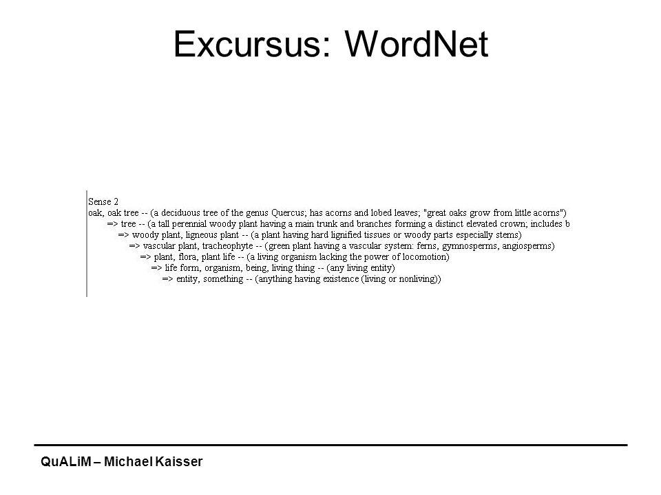 QuALiM – Michael Kaisser Excursus: WordNet