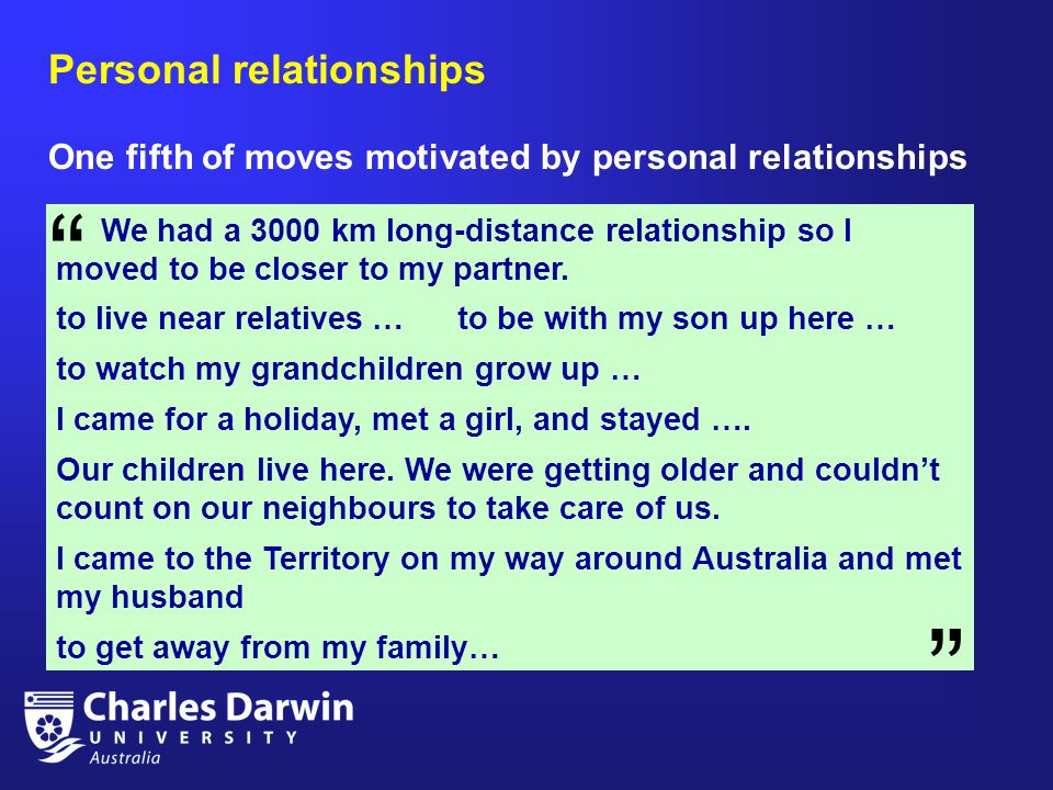 Personal relationships One fifth of moves motivated by personal relationships We had a 3000 km long-distance relationship so I moved to be closer to my partner.