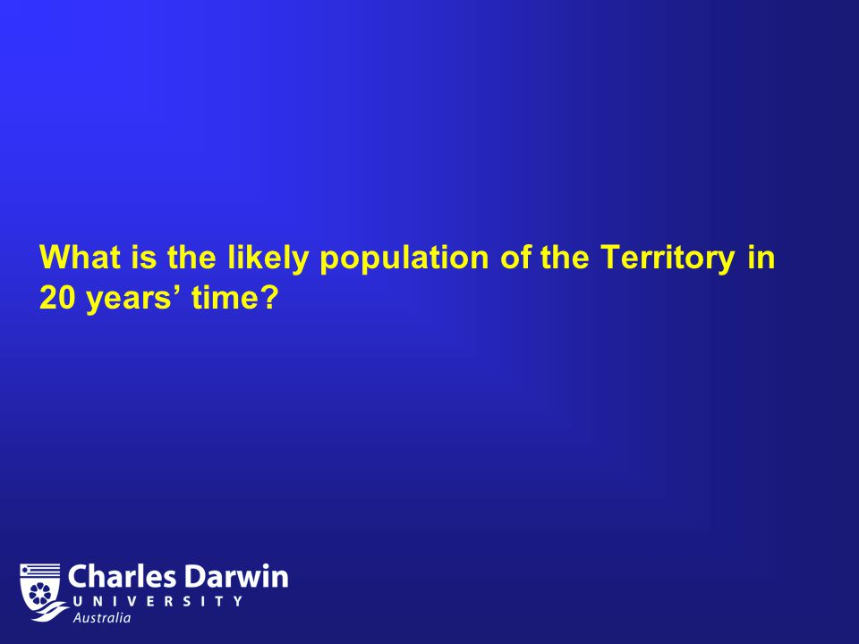 What is the likely population of the Territory in 20 years' time?