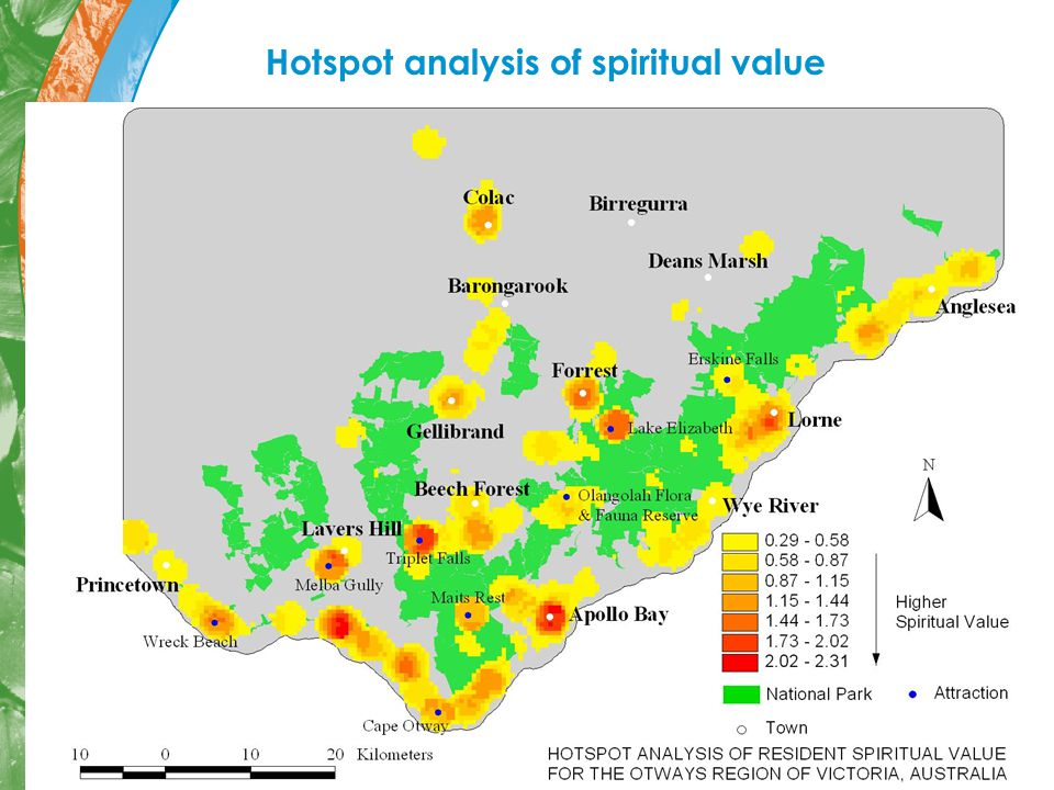 Hotspot analysis of spiritual value