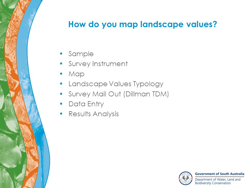 Sample Survey Instrument Map Landscape Values Typology Survey Mail Out (Dillman TDM) Data Entry Results Analysis How do you map landscape values