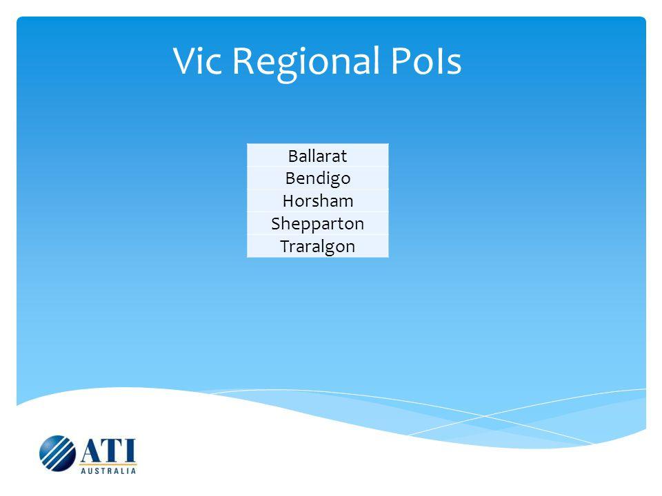 Vic Regional PoIs Ballarat Bendigo Horsham Shepparton Traralgon