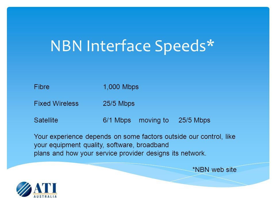 NBN Interface Speeds* Fibre 1,000 Mbps Fixed Wireless25/5 Mbps Satellite6/1 Mbps moving to 25/5 Mbps Your experience depends on some factors outside our control, like your equipment quality, software, broadband plans and how your service provider designs its network.