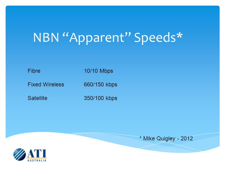 NBN Apparent Speeds* Fibre 10/10 Mbps Fixed Wireless660/150 kbps Satellite350/100 kbps * Mike Quigley - 2012