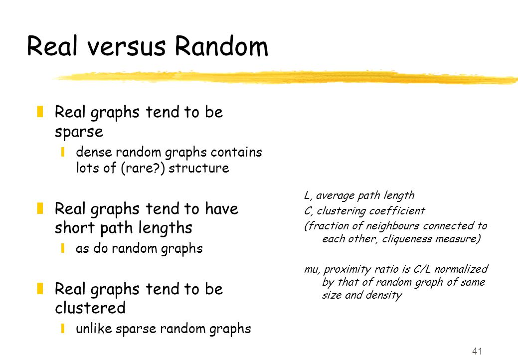 41 Real versus Random z Real graphs tend to be sparse ydense random graphs contains lots of (rare ) structure z Real graphs tend to have short path lengths yas do random graphs z Real graphs tend to be clustered yunlike sparse random graphs L, average path length C, clustering coefficient (fraction of neighbours connected to each other, cliqueness measure) mu, proximity ratio is C/L normalized by that of random graph of same size and density