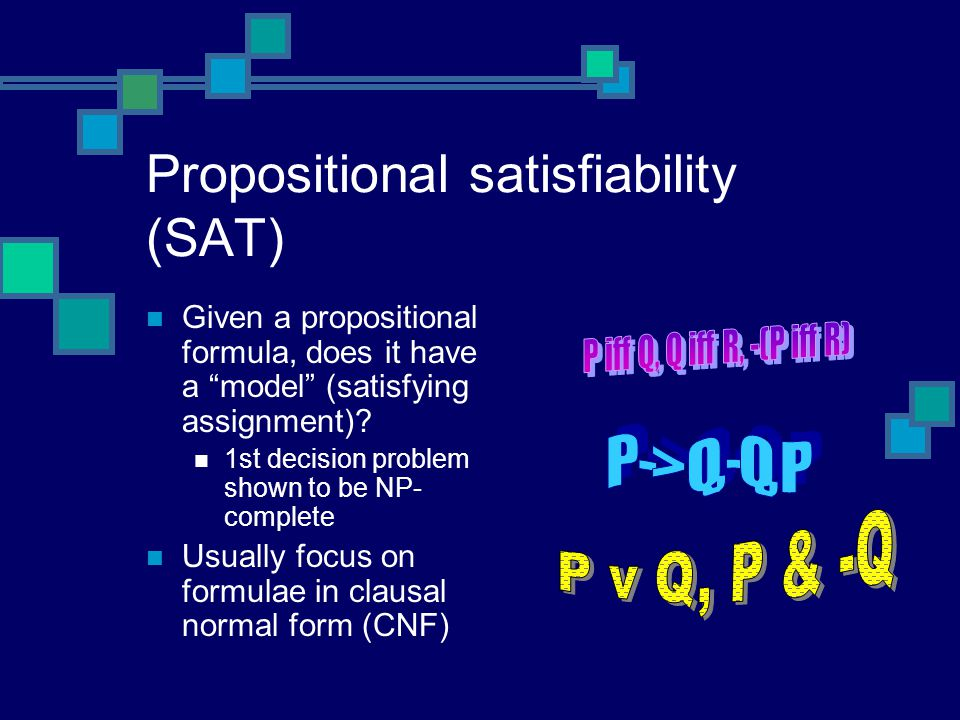 Some applications of SAT Planning as SAT Put bound on plan length If bound too small, UNSAT Introduce new propositional variables for each time step