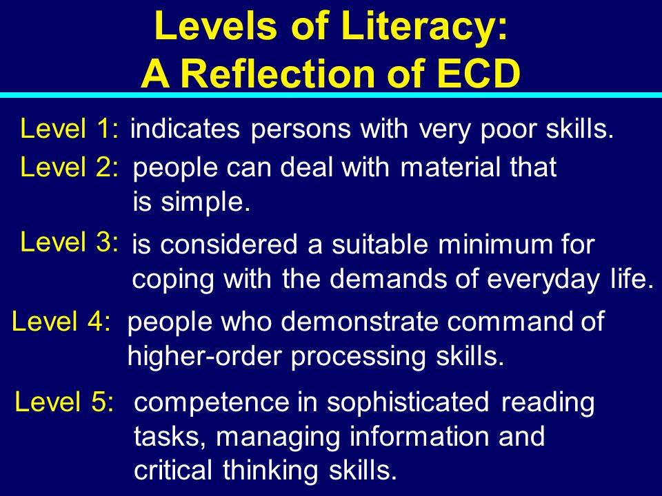 08-022 Levels of Literacy: A Reflection of ECD Level 1: Level 2: Level 3: Level 4: indicates persons with very poor skills.