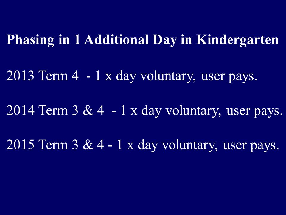 Phasing in 1 Additional Day in Kindergarten 2013 Term 4 - 1 x day voluntary, user pays.
