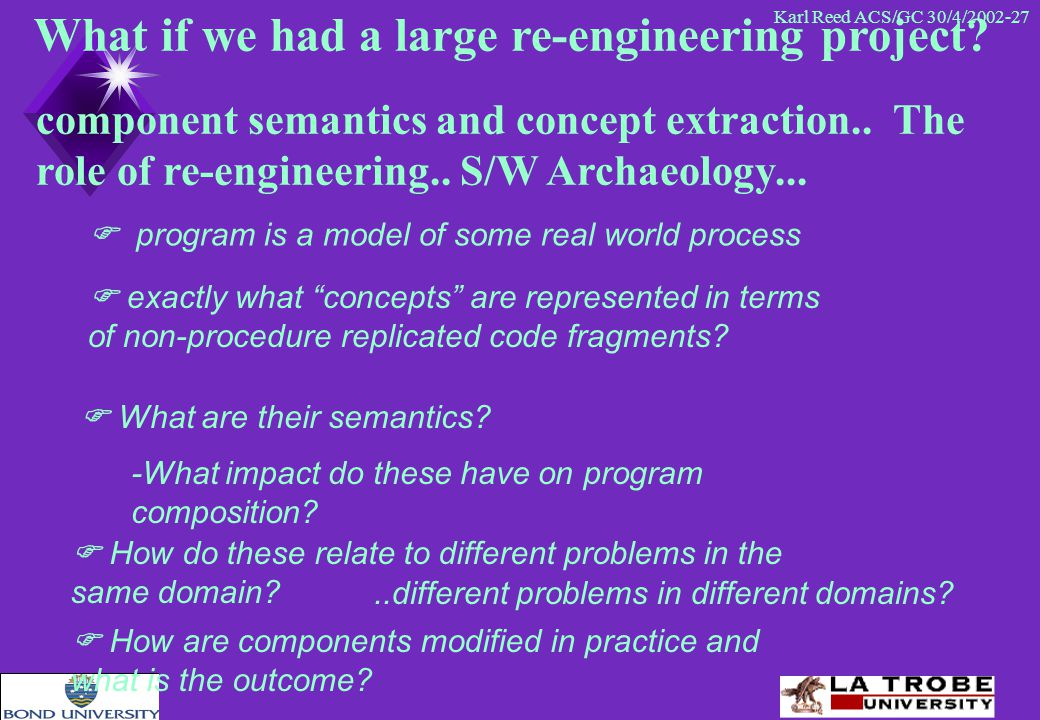 Karl Reed ACS/GC 30/4/2002-27 What if we had a large re-engineering project.
