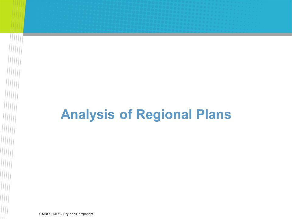 CSIRO LMLF – Dryland Component Analysis of Regional Plans