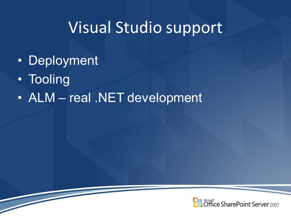 Visual Studio support Deployment Tooling ALM – real.NET development