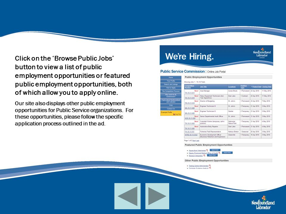 Click on the 'Browse Public Jobs' button to view a list of public employment opportunities or featured public employment opportunities, both of which allow you to apply online.