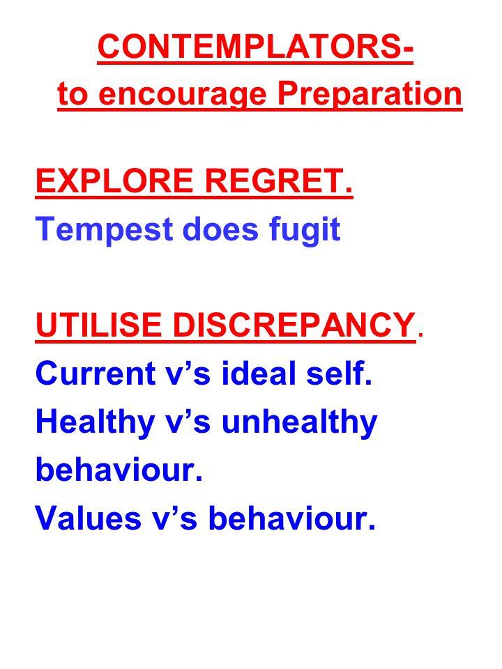 CONTEMPLATORS- to encourage Preparation MOTIVATIONAL INTERVIEWING.