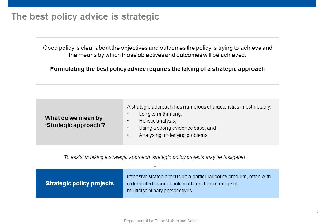 2 Department of the Prime Minister and Cabinet The best policy advice is strategic Good policy is clear about the objectives and outcomes the policy i