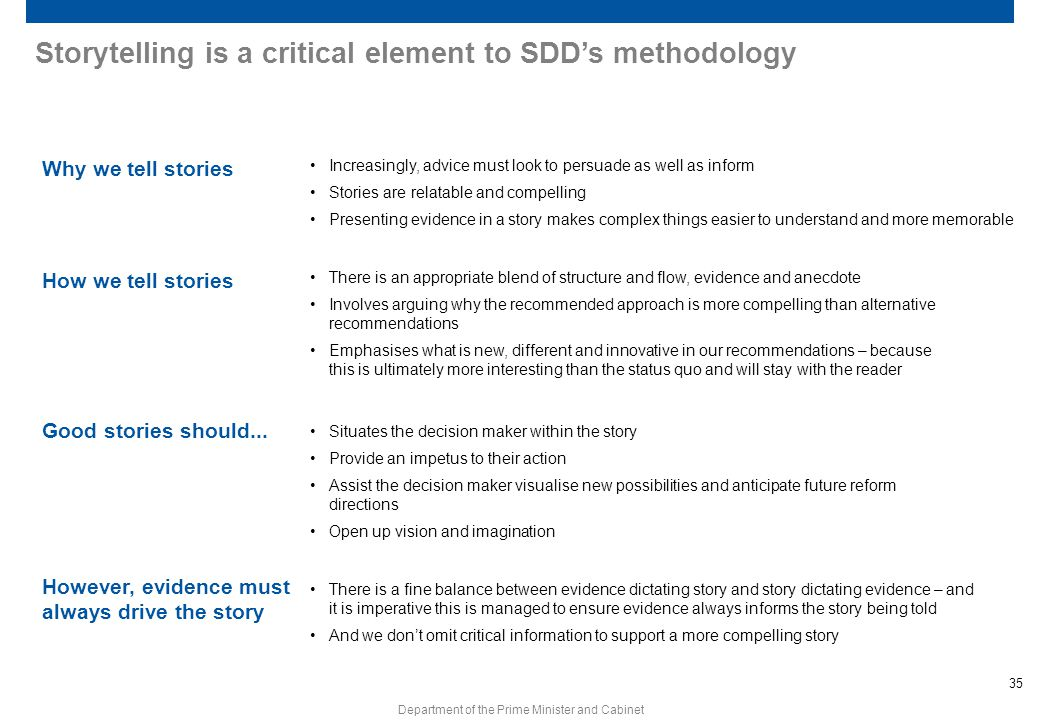 35 Department of the Prime Minister and Cabinet Storytelling is a critical element to SDD's methodology Why we tell stories How we tell stories Good s