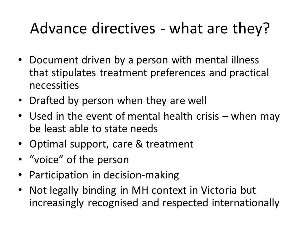 What do ADs look like.Mental health treatment preferences – Eg.