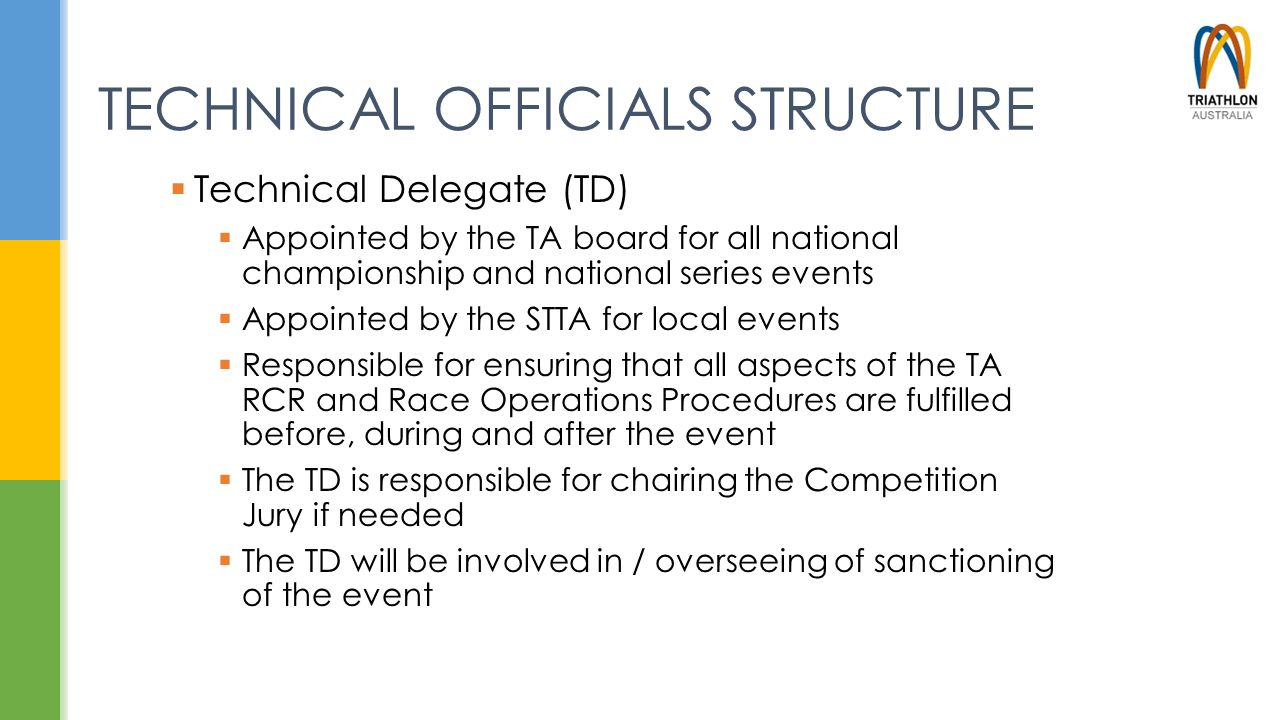 TECHNICAL OFFICIALS STRUCTURE  Technical Delegate (TD)  Appointed by the TA board for all national championship and national series events  Appoint