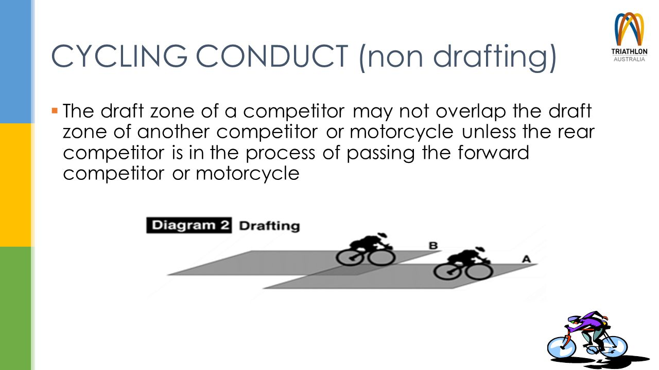 CYCLING CONDUCT (non drafting)  The draft zone of a competitor may not overlap the draft zone of another competitor or motorcycle unless the rear com
