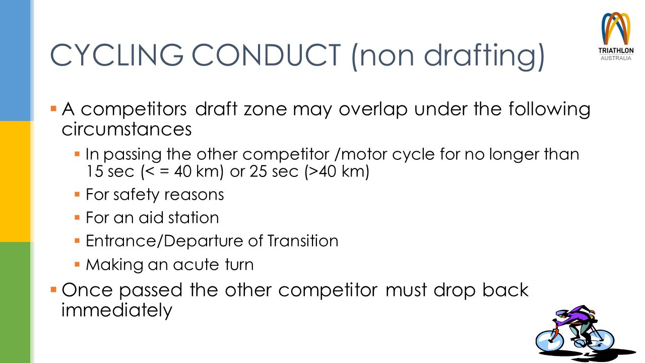 CYCLING CONDUCT (non drafting)  A competitors draft zone may overlap under the following circumstances  In passing the other competitor /motor cycle