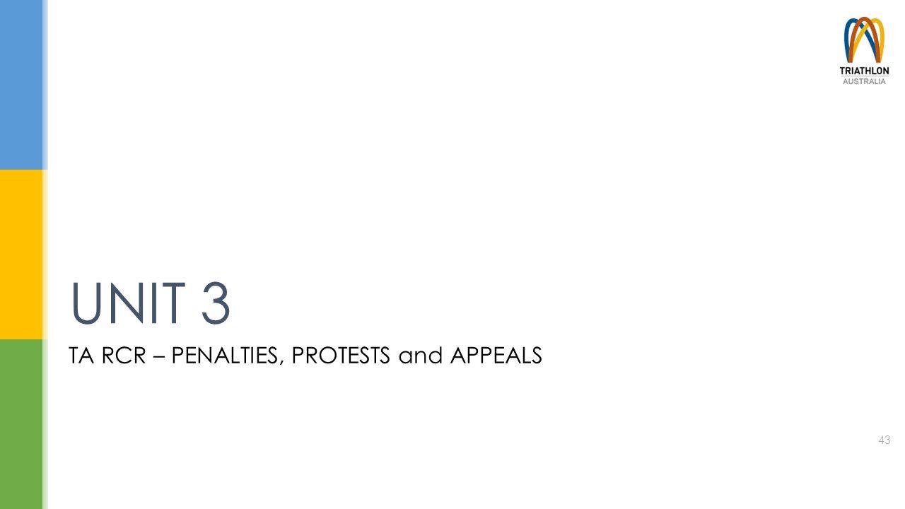 TA RCR – PENALTIES, PROTESTS and APPEALS UNIT 3 43