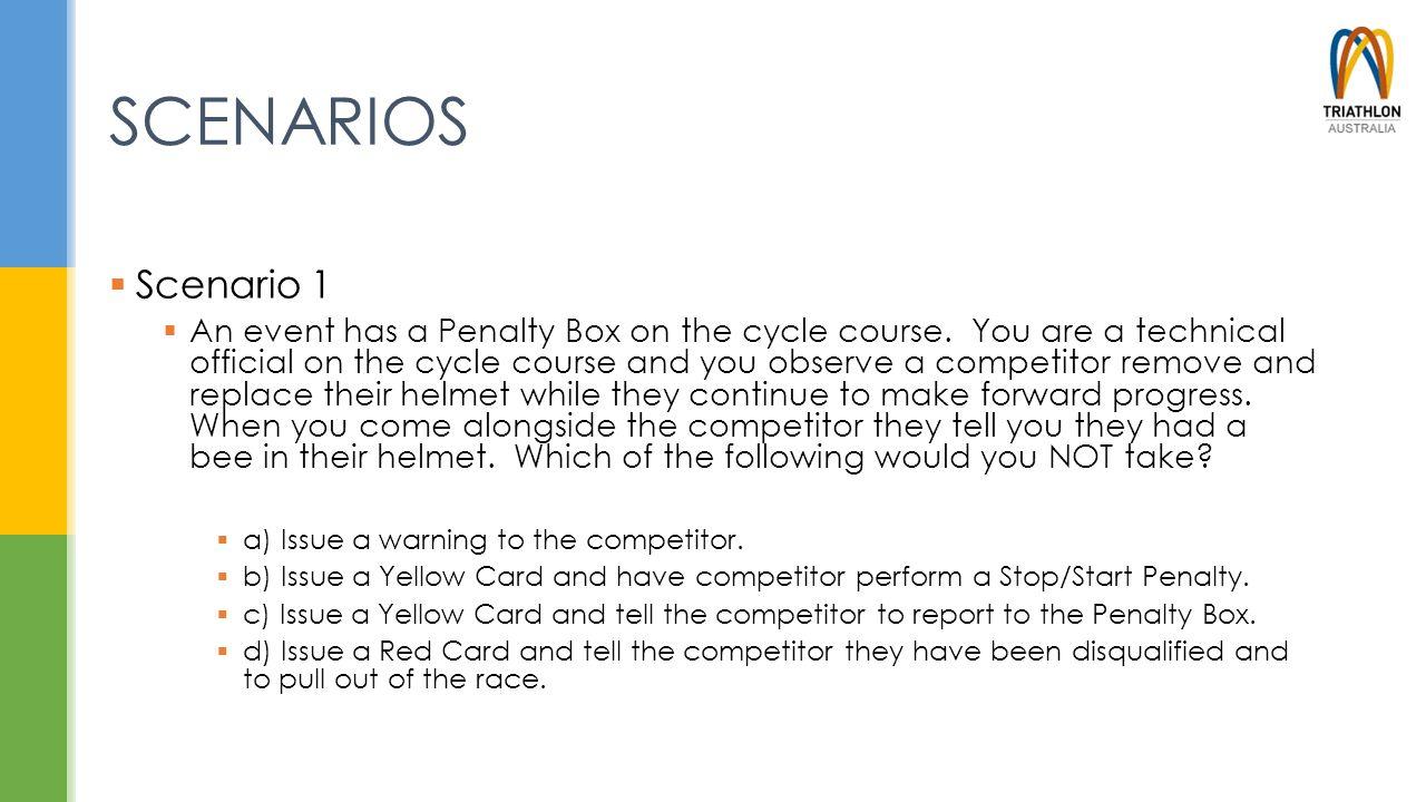SCENARIOS  Scenario 1  An event has a Penalty Box on the cycle course.