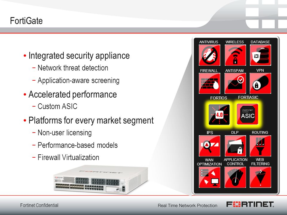 Fortinet Confidential FortiGate Integrated security appliance −Network threat detection −Application-aware screening Accelerated performance −Custom ASIC Platforms for every market segment −Non-user licensing −Performance-based models −Firewall Virtualization ASIC FIREWALL APPLICATION CONTROL WIRELESSDATABASE ANTISPAM VPN FORTIOS FORTIASIC WEB FILTERING DLPROUTING WAN OPTIMIZATION ANTIVIRUS IPS